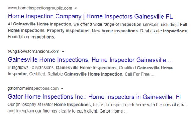 Gainesville Home inspection local rank