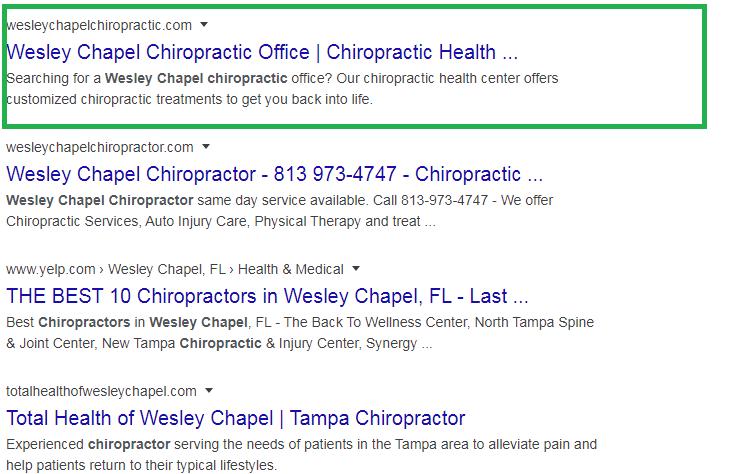 wesley chapel chiropractic Local Rank