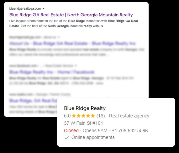Blue Ridge Realty Local Rank